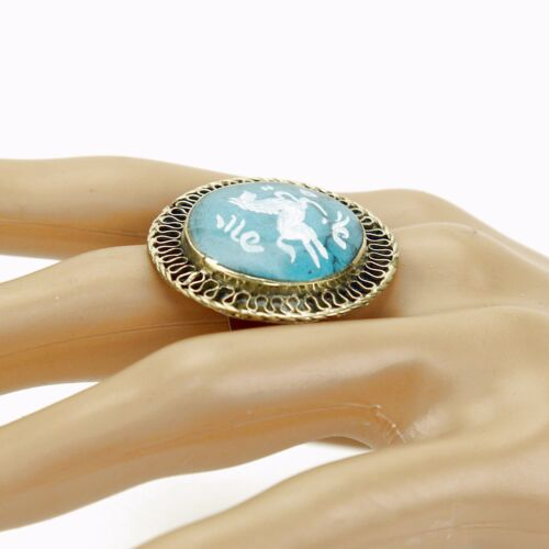 Turquoise RING Hand Carved Kuchi Belly Dance Tribal 851b4 many sizes available