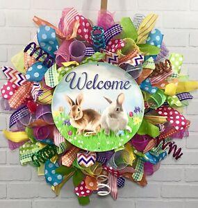 Easter Bunny Wreath Spring Wreath Easter Wreath Bunny Wreath Deco Mesh Wreath