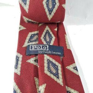 POLO-By-Ralph-Lauren-Silk-Men-039-s-Tie-Handmade-Imported-Silk-Fabric-59-039-x-3-5-EUC