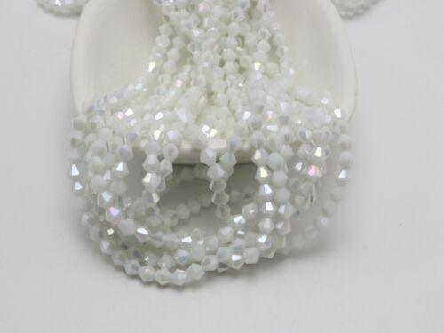 120pcs 4 mm Bobine biconique Bead Faceted Cristal Perles De Verre ~ Blanc Opaque