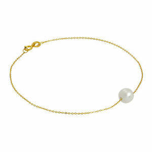 Real-375-9ct-Gold-amp-6mm-Pearl-Fine-1mm-Curb-Bracelet-7-Inches-Pearls-Bracelets