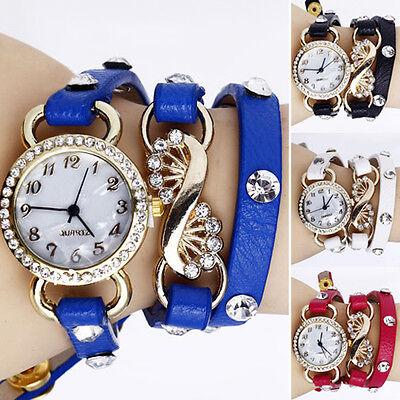 Vogue Women Crystal Dial Layers Leather Bracelet Quartz Analog Wrist Watch BICU