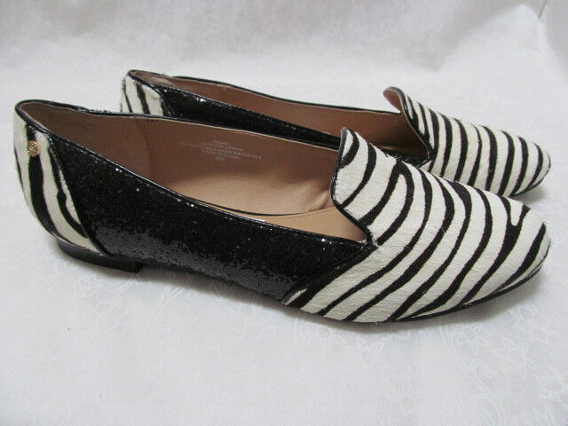 IMAN ZEBRA LEATHER HAIRCALF & BLACK GLITTER Schuhe SIZE 10 M - NEU