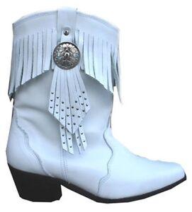 Ladies-Genuine-White-Leather-Tassel-Western-Cowboy-Cowgirl-Boots-Fringe-Tassle