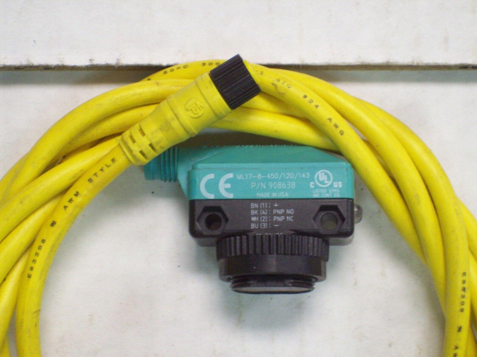 Pepperl    Fuchs Fotoeléctrica Sensor ML17-8-450/120/143 w Cable V31-GM-YE2M-PVC 12c5df