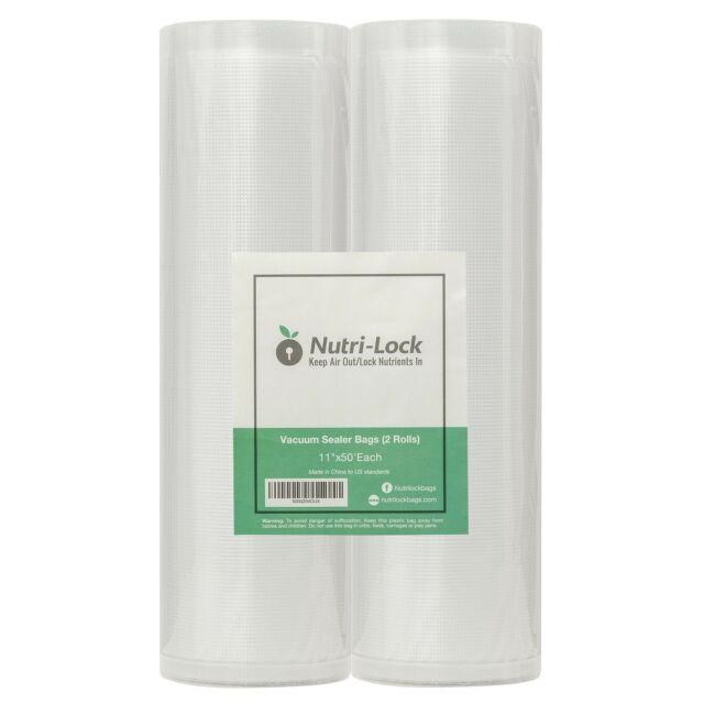 Nutri-Lock Vacuum Sealer Bags. 2 Rolls 11x50. Commercial Grade Food Saver Bag...