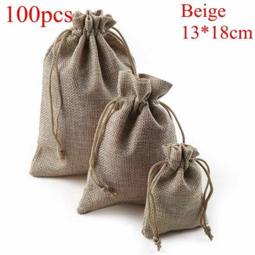 Sack Linen Candy Organizer Wedding Favor Jute Gift Bags Drawstring Pouch