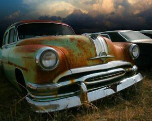 Classic-Car-Wall-Art-Pontiac-Chieftain-Car-Photograph-8-x-10-Junkyard-Photo