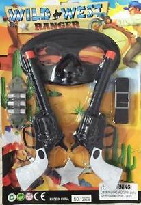 WESTERN-RANGER-TWIN-PISTOL-WITH-MASK-amp-SHEFIFF-BADGE-SET-play-toy-cowboy-gun-new