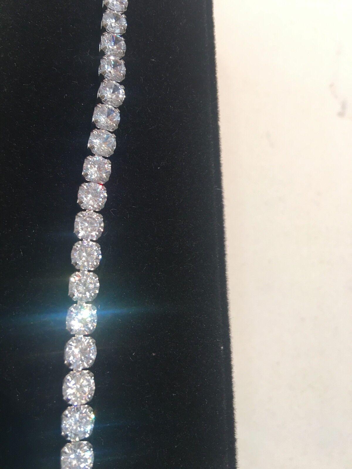 10Ct Diamond Tennis Bracelet 6.75  1 Row Round Diamonds perfect 14K White goldep