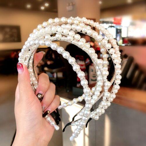 Women Girls Full Pearl Hairband Headband Hair Hoop Holder Headwear Accessories