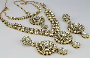 Indian gold plated wedding necklace set Earring matha Pati set fashion jewellery