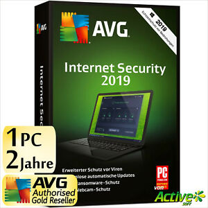 AVG INTERNET SECURITY 1 PC 2 Jahre 2019 Vollversion DE Antivirus NEU 2018