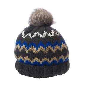 6dead8ab82f TOPMAN Men`s Grey Multi Winter Print Knitted Pom Pom Cap 56D10C One ...