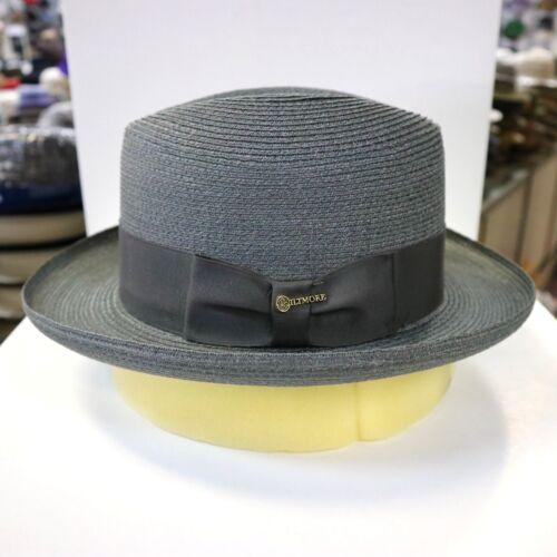 BILTMORE GENUINE MILAN GREY HOMBURG DRESS HAT