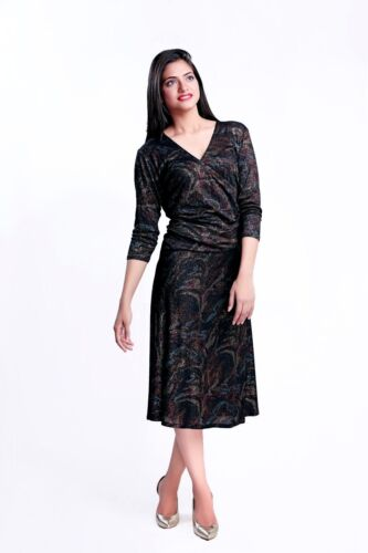Christmas New Year Plus Size Midi Moonlight Golden Party Dress Size 10 24
