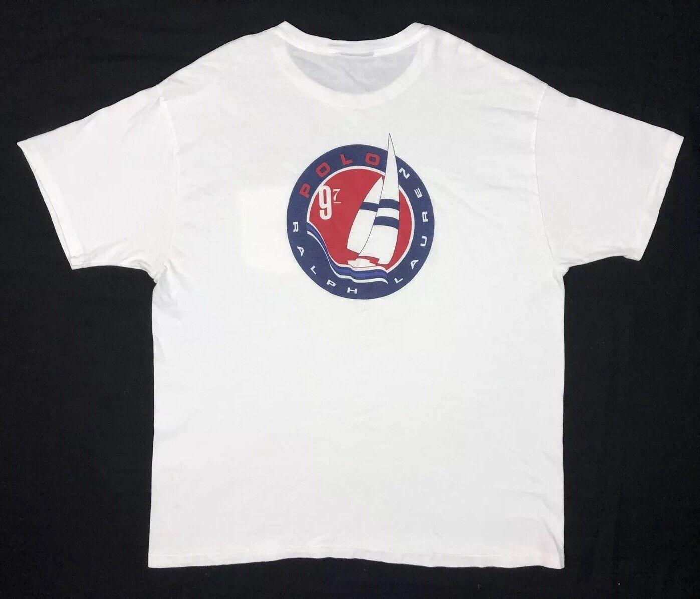 Vtg Polo Sport Ralph Lauren  Herren 1997 Sailing Yacht Weiß S/S T-Shirt Sz Large