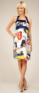 280 VaVa Voom by Joy Han 100% Silk Pin Up French  Magazine Dress  HalterSmall