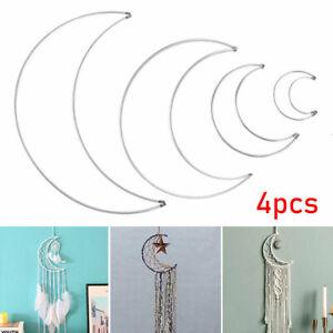 4Pcs Metal Dream Catcher Dreamcatcher Macrame Craft Hoop DIY Half Crescent Moon