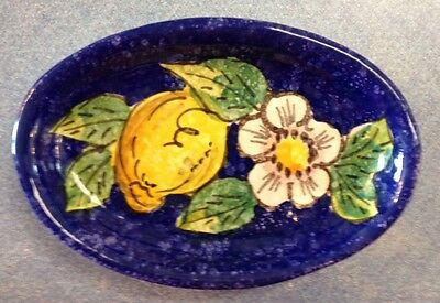 Vietri pottery-Blue Lemon 6inch Oval.Made painted by hand in Italy