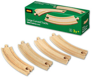 "BRIO LONG CURVED TRACK 6.50"" Wooden Train Engine Thomas compatible NEW 33342"