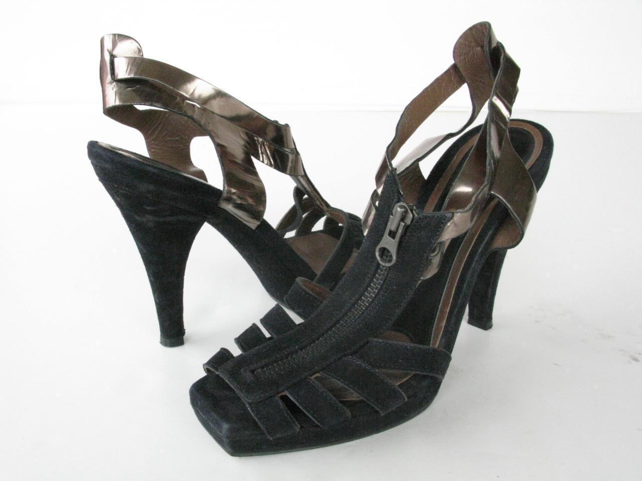 Marni  Black Metallic Bronze Leather Suede Zip T-Strap Platform Heels