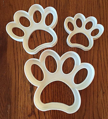 Set of THREE paw print cookie and fondant cutters  - 2, 3, 4 inch - US SELLER!!