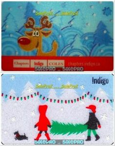 2x-CHAPTERS-INDIGO-CHRISTMAS-TREE-REINDEER-LENTICULAR-COLLECTIBLE-GIFT-CARD-LOT