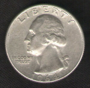 Silver-Quarter-1964-D-Denver-Mint-U-S-25-Cents-Coin-with-FREE-Fast-Shipping