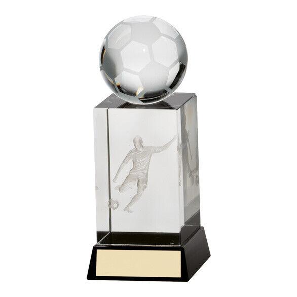 Sterling Calcio Cristallo Trofeo con Pieno 3D Sfera & Laser Immagine Elegante