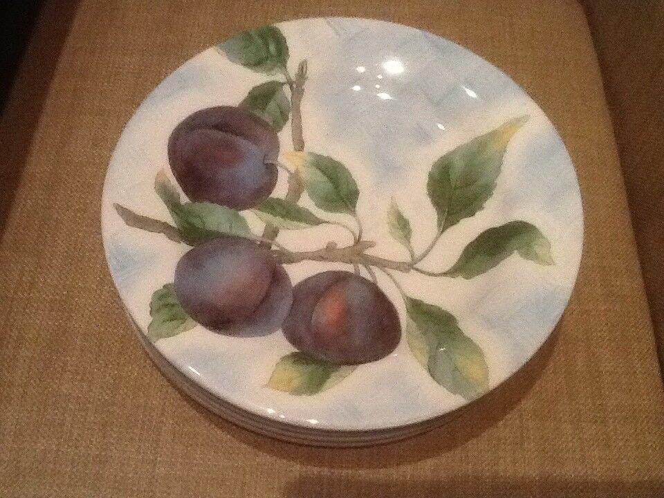 Williams Sonoma 8 1 2  Salad Lunch Plates Fruit bluee Lattice Made in  (4)