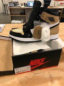 02b0468a168 Nike Air Jordan 1 Retro High OG NRG Patent Gold Toe 100% Authentic ...