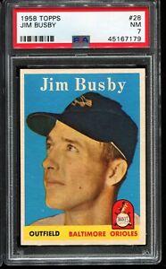 1958-Topps-Baseball-28-JIM-BUSBY-Baltimore-Orioles-PSA-7-NM