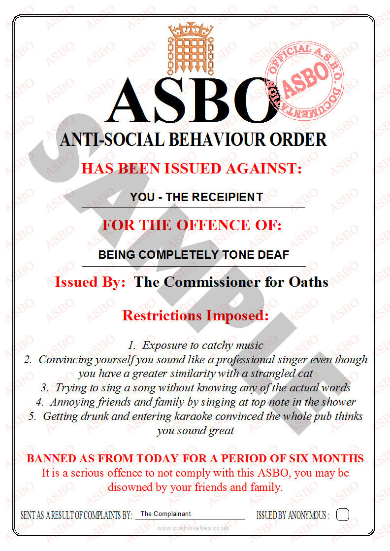What Is An Asbo >> Details About Novelty Asbo Tone Deaf Personalised For Free