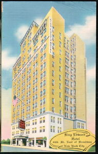 NYC-NY-Postcard-King-Edward-Hotel-East-Broadway-Vintage-City-View-Old-Linen