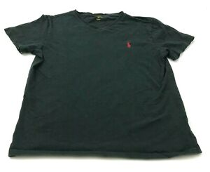 Polo-Ralph-Lauren-Shirt-Men-039-s-Size-Medium-V-Neck-Black-Short-Sleeve-Red-Pony-Tee