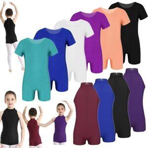 Girls-Boys-Gymnastics-Leotard-Stretchy-Sleeveless-Ballet-Dance-Bodysuit-Coloful