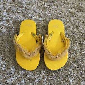 NWT-Gap-Kids-Girls-Flip-Flops-Yellow-Sandals-Tulle-Size-10-11-NEW