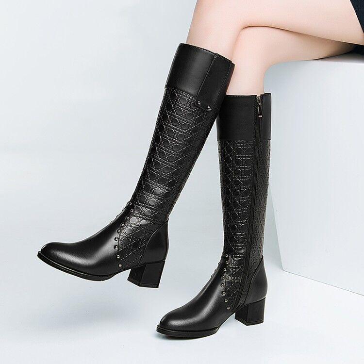 Fashion donna Leather Knee High stivali Winter Block Heels Rivet scarpe