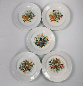 Gibson-Grand-Nobility-Christmas-Holiday-Dessert-Plates-Pine-Cones-Lot-of-5