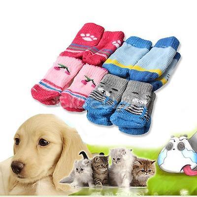 4Pcs Cute Puppy Dogs Pet Knits Socks Anti Slip Skid Bottom Hot Sale Fashion E
