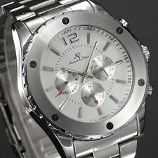 KS Mens White Dial Automatic Mechanical 6 Hands Date Stainless Steel Wrist Watch