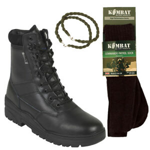 BLACK-PATROL-COMBAT-BOOTS-LEATHER-ARMY-TACTICAL-WITH-TROUSER-TWISTS-AND-SOCKS