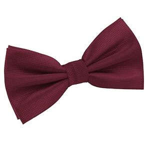 Homme-Noeud-Papillon-Tisse-plaine-solide-Carreaux-Bordeaux-Formel-reglable-PreTied-par-DQT