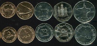 UAE SET 5 COINS 5 10 25 50 FILS 1 DIRHAM UNC
