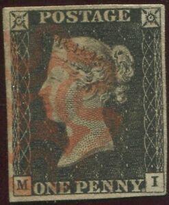 Great-Britain-1840-1d-Penny-Black-039-MI-039-Plate-2-4-Good-Margins-Red-Maltese-X