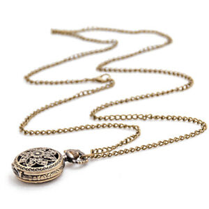 Fashion-Vintage-Retro-Bronze-quartz-watch-pocket-Chain-pendant-necklace-lo