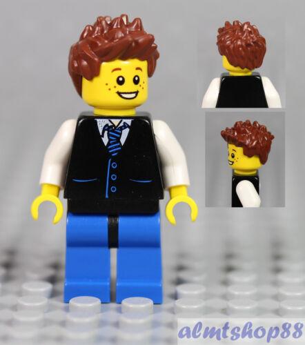 Boy Kids Minifigure w// Black Vest Pocket Striped Tie /& Brown Spiked Hair LEGO