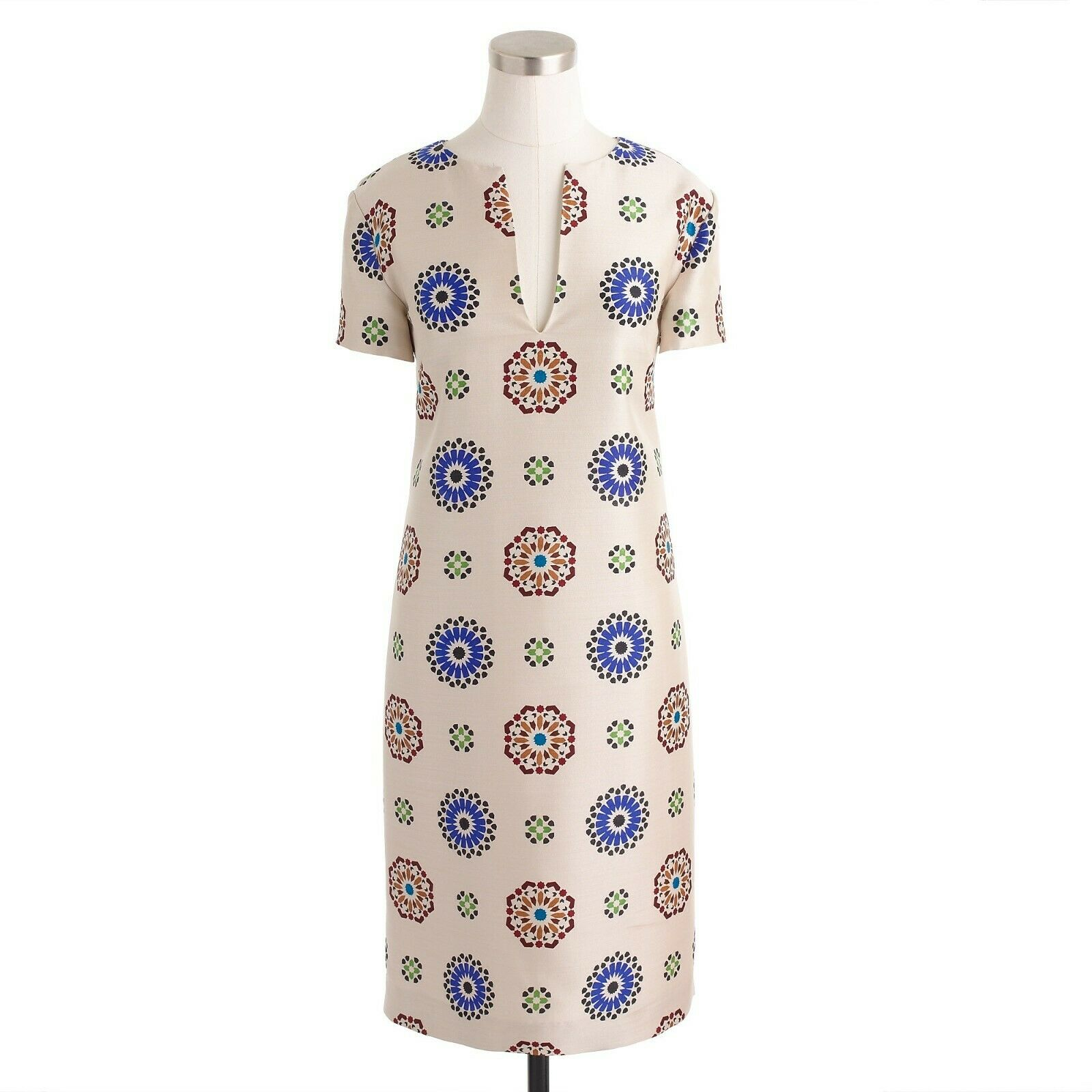 J.Crew Collection Wool Silk Dress in Tile Medallion Print Size 2