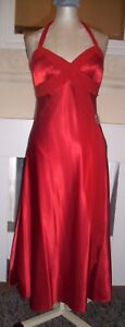 Red-satin-look-evening-dress-size-10-halter-neck-with-shawl